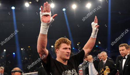 Stock Image of Russian Heavyweight Boxer Alexander Povetkin (c) Celabrates After His Fight Against Us Heavyweight Boxer Hasim Rahman at World Boxing Association (wba) World Title Fight in the Alsterdorfer Sporthalle in Hamburg Germany 29 September 2012 Povetkin Won the Fight and Defended His Heavyweight Boxing Title Germany Hamburg