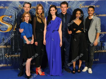 Cast Actors (l-r) Josefine Preu? Florian Bartholomai Laura Berlin Maria Ehrich Jannis Niewoehner Jennifer Lotsi and Kostja Ullmann Pose For Pictures As They Arrive For the Premiere of 'Sapphire Blue' in Cologne Germany 11 August 2014 the Movie Will Be Premiere in German Theatres on 14 August Germany Cologne