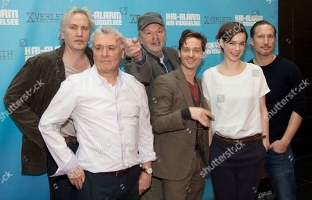 Actors Uwe Dag Berlin (l-r) Henry Huebchen Michael Gwisdek Tom Schilling Annika Kuhl and Benno Fuermann Pose During a Photocall For 'Hai-alarm Am Mueggelsee' (lit : Shark Attack on Mueggelsee) in Berlin Germany 30 January 2013 the Movie Will Be Released in German Cinemas on 14 March Germany Berlin