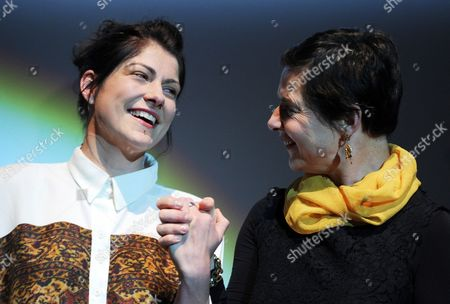 German Screenwriter of 'Tore Tanzt' ('nothing Bad Can Happen') Katrin Gebbe (l) is Presented with the Montblanc Screenplay Award by Italian Actress Isabella Rossellini (r) at the End of the Hamburg Film Festival in Hamburg Germany 05 October 2013 Germany Hamburg