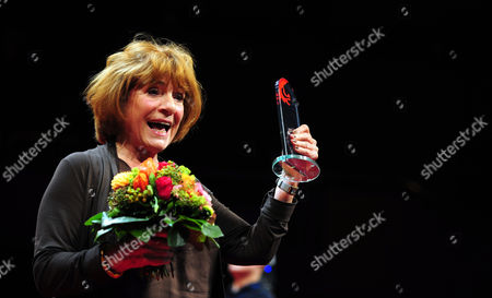 German Actress Hannelore Hoger Thanks the Audience on Stage After Receving an Award During the Award Ceremony of the Hessian Film and Cinema at the Alte Oper in Frankfurt Am Main Germany 11 October 2013 the Awards Are Endowed with a Total of 185 000 Euros Germany Frankfurt/main
