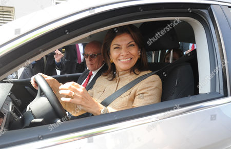 The President of Costa Rica Laura Chinchilla Miranda Visits the Center For Solar Energy and Hydrogen Research Baden-wuerttemberg in Stuttgart Germany 24 May 2012 Miranda Will Meet the Prime Minister of Baden-wuerttemberg Kretschmann and Have Coffee with Him Germany Stuttgart