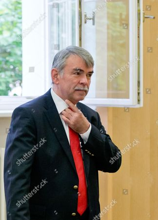 Gustl Mollath Stands in the Courtroom Prior to the Announcement of the Verdict in His Case at the Regional Court of Regensburg Germany 14 August 2014 Mollath who was Kept in a Psychiatric Ward Against His Will For Years was Acquited of His Charges Germany Regensburg