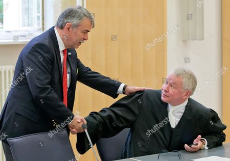 Stock Picture of Gustl Mollath (l) Greets His Lawyer Gerhard Strate in the Courtroom at the Regional Court of Regensburg Germany 14 August 2014 Mollath who was Kept in a Psychiatric Ward Against His Will For Years was Acquited Germany Regensburg