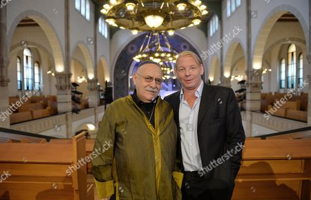 Actor Ben Becker and Clarinettist Giora Feidman (l) Pose For the Media During the Presentation of Their First Joint Project 'For Two Voices - an Homage to Paul Celan' at Synagogue Rykerstrasse As Part of the Ativities of Jewish Culture Days in Berlin Germany 20 August 2013 Germany Berlin