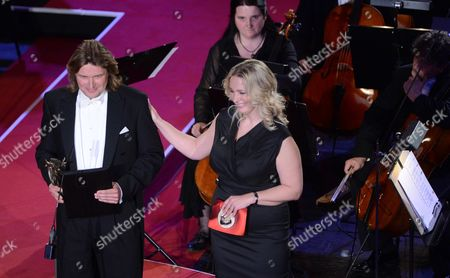 German Tenor Klaus Florian Vogt (l) Receives the European Culture Prize From the Hands of Wagner's Great-granddaughter Katharina Wagner During the European Cultural Awards Ceremony at the Leipzig Opera House in Leipzig (saxony) Germany 21 May 2013 Germany Leipzig