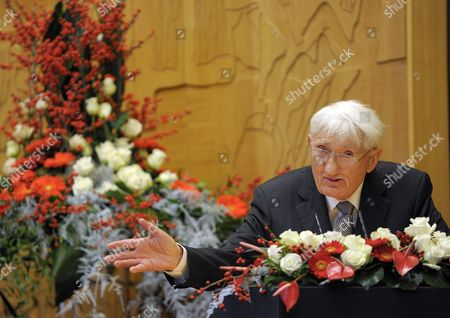 German Philosopher and Sociologist Juergen Habermas Delivers an Acceptance Speech After Receiving the Heinrich-heine-prize 2012 in Duesseldorf Germany 14 December 2012 Habermas 83 Received the 50 000 Euro Donated Prize For His Lifetime Achievement Germany Duesseldorf