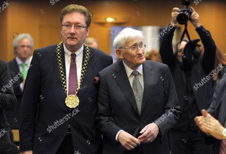Stock Photo of German Philosopher and Sociologist Juergen Habermas (r) is Accompanied by Duesseldorf Mayor Dirk Elbers (l) As They Arrive For the Awarding of the Heinrich-heine-prize 2012 in Duesseldorf Germany 14 December 2012 Habermas 83 Received the 50 000 Euro Donated Prize For His Lifetime Achievement Germany Duesseldorf