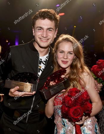 Stock Picture of German Actors Samuel Schneider (l) and Alicia Von Rittberg Hold Their Best Young Actor Awards During the New Faces Award Ceremony in Berlin Germany 08 May 2014 the Award Ceremony Held by Bunte Magazine Recognizes Talent in the Film Industry Germany Berlin