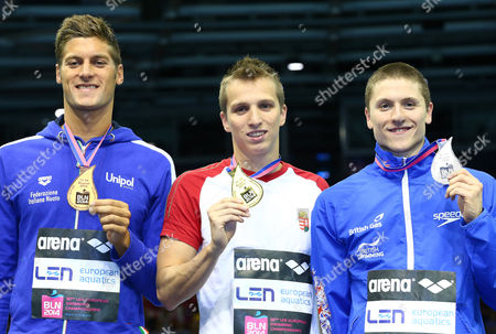 Winner David Verraszto of Hungary (c) and Second Placed Roberto Pavoni of Great Britain (r) and Federico Torrini of Italy Show Their Medals For the Men's 40m Medley at the 32nd Len European Swimming Championships 2014 at the Velodrom in Berlin Germany 24 August 2014 Germany Berlin