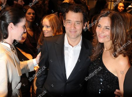 German Socialite Nathalie Von Bismarck (l-r) British Actor Clive Owen and Roberta Armani Niece of Italian Fashion Designer Giorgio Armani Arrive For the Giorgio Armani Cocktail Party in the New Boutique at the Kurfuerstendamm in Berlin Germany 14 February 2012 Germany Berlin