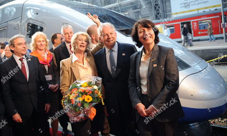 Member of the Board of France's National State-owned Railway Company Sncf Barbara Dalibard (r-l) Ceo of German Railways Ruediger Grube and Mayor of Frankfurt Petra Roth Stand Next to the First Tgv Euroduplex From Marseille at Central Station in Frankfurt Main Germany 23 March 2012 German Railways and Sncf Are Expanding Their Cooperation with Direct Connections From Frankfurt to Marseille Via Lyon with High-speed Trains Which Will Travel Once Daily in Both Directions Germany Frankfurt Main