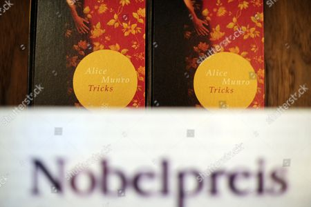 Books by Canadian Writer Alice Munro Stand Above a Sign Reading 'Nobel Prize For Literature 2013' During the Frankfurt Book Fair After It was Announced That Munro was the Laureate in Frankfurt Am Main Germany 10 October 2013 the Book Fair Runs Until 13 October Germany Frankfurt Am Main