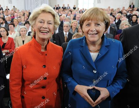 Frankfurt's Leaving First Mayor Petra Roth (l) and German Chancellor Angela Merkel (r) Pose For a Photo During the Farewell Ceremony at Pauls Church in Frankfurt Germany 11 June 2012 the 68-year-old Roth is the Oldest Mayor in a German City She Leaves After 17 Years in Office About 900 Guests Were Invited For the Ceremony at Pauls Church Germany Frankfurt/main