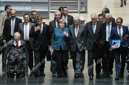 German Chancelloer Angela Merkel (c) Arives with Finance Minister Wolfgang Schaeuble (l-r) Interior Minister Hans-peter Friedrich Chief of Staff Ronald Pofalla Premier of Saxony Stanislaw Tillich Premier of Hesse Volker Bouffier Premier of Bavaria Horst Seehofer Cdu Secretary General Hermann Groehe and Transport Minister Peter Ramsauer to the Exploratory Talks on the Formation of a Coalition the Cdu/csu and the Greens in Berlin Germany 15 October 2013 Germany Berlin