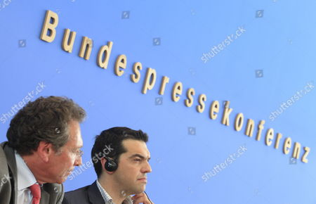 Chair of the Left Party Klaus Ernst (l) and Alexis Tsipras (r) Talk at the Federal Press Conference in Berlin Germany 22 May 2012 Greece and the Effects on the Eurozone Were Discussed Germany Berlin