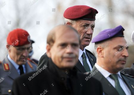 German Bundeswehr Major General Markus Kneip (l-r) Israeli Ambassador to Germany Yakov Hadas-handelsman Chief of Staff of the Israeli Armed Forces Benjamin Gantz and Israeli Military Attache Coloneláerez Katz Arrive For a Wreath-laying Ceremony on the Eve of the 75th Anniversary of Reichskristallnacht (night of the Broken Glass) at Gleis 17 (lit Track 17) Memorial in Berlin Germany 08 November 2013 During Wwii Gleis 17 was Used by Nazi Regime As a Hub to Deport Jews to Concentration and Extinction Camps After an Anti-semitic Rabble-rousing Speech by Nazi Propaganda Minister Joseph Goebbels Assault Troops of the Ssáand Sa the Paramilitary Organizations of Hitler's Ruling Nsdap on 09 and 10 November 1938 Burnt Down 267 Synagogs Destroyed the Windows of 7 500 Jewish Shops Vandalized Jewish Cemeteries and Battered People Splintered Windows and Glass Splinters on the Streets Gave the Inspiration For the Downplaying Labelling of the Pogrom As 'Night of the Broken Glass' 91 People Died 20 000 Were Detained Germany Berlin