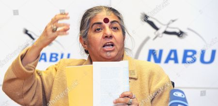 Indian Environmental Activist Vandana Shiva Speaks During a Press Conference of the Naturschutzbund Deutschland (nabu German Association For the Protection of the Environment) in Berlin Germany 07 December 2011 Shiva Laureate of the Alternative Nobel Prize Presented the Study 'The Emperor's New Clothes' on the Failure of Alternative Genetic Engineering in Agriculture Germany Berlin