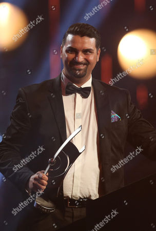 Stock Photo of German Musician Giovanni Weiss Expresses His Thanks After Receiving the 'Echo Jazz' Award in the Category 'Instumentalist of the Year National Guitar' in Hamburg Germany 23 May 2013 Germany Hamburg