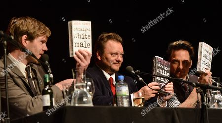 (l-r) Moderator Nagel Scottish Writer John Niven and German Musician Bela B Attend a Press Conference on Niven's Book 'Straight White Male' During the Literary Festival Lit Cologne 2014 in Cologne Germany 15 March 2014 Germany Cologne