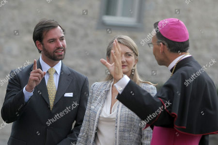 German Bishop Franz-peter Tebartz-van Elst (r) Prince Guillaume Hereditary Grand Duke of Luxembourg (l) and His Wife Countess Stephanie De Lannoy (c) Talk While Standing in Front of Limburg Cathedral in Limburg an Der Lahn Germany 30 August 2013 the Luxembourg Couple Visited Several Places in the German State of Hesse Germany Limburg an Der Lahn