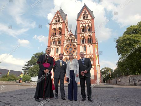 German Bishop Franz-peter Tebartz-van Elst (l-r) Prince Guillaume Hereditary Grand Duke of Luxembourg His Wife Countess Stephanie De Lannoy and the Mayor of Limburg Martin Richard Stand in Front of Limburg Cathedral in Limburg an Der Lahn Germany 30 August 2013 the Luxembourg Couple Visited Several Places in the German State of Hesse Germany Limburg an Der Lahn