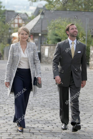 Prince Guillaume Hereditary Grand Duke of Luxembourg (r) and His Wife Countess Stephanie De Lannoy (l) Walk Towards the Limburg Cathedral in Limburg an Der Lahn Germany 30 August 2013 the Luxembourg Couple Visited Several Places in the German State of Hesse Germany Limburg an Der Lahn