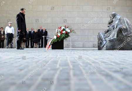 Maltese President George Abela (l) Lays Down a Wreath in the Central Memorial of the Federal Republic of Germany For the Victims of War and Dictatorship in the Neue Wache (new Guardhouse) in Berlin Germany 11 March 2014 George Abela is on an Official Visit to Germany Germany Berlin