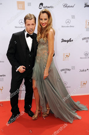 Stock Picture of German Model Alessandra Pocher and German Actor Oliver Pocher Arrive For the Bambi Award Ceremony 2012 in Duesseldorf Germany 22 November 2012 the Bambis Are the Main German Media Awards and Are Presented For the 64th Time Germany Düsseldorf
