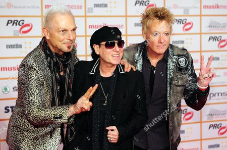 (l-r) Rudolf Schenker Klaus Meine and James Kottak of the Band Scorpions Arrive For the Lea Live Entertainment Award Ceremony in Frankfurt Am Main Germany 11 March 2014 the Gala is Held Within the Scope of the Musikmesse International Music Fair That Runs 12 to 15 March Germany Frankfurt Am Main