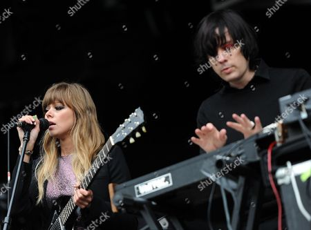 Singer Ruth Radelet (l) and Musician Johnny Jewel of Us Band Chromatics Perform Onstage in the Former Spreepark in Berlin Germany 18 May 2013 the London Indie Band the Xx Invited Musician Friends to a Concert at the Deserted Spreepark Area Germany Berlin