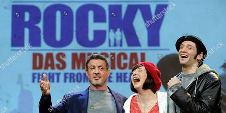 (l-r) Us Actor Sylvester Stallone Dutch Actress and Singer Wietske Van Tongeren (as Adrian) and Us Actor Drew Sarich (as Rocky) Pose on Stage After the Press Conference For the 'Rocky' Musical at Tui Operettenhaus in Hamburg Germany 16 November 2012 the Musical Celebrates Its Opening Night and World Premiere on 18 November Germany Hamburg
