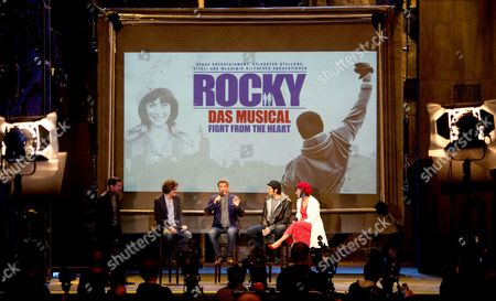Stock Photo of (l-r) Director Alex Timbres Us Actor Sylvester Stallone Dutch Actress and Singer Wietske Van Tongeren (as Adrian) and Us Actor Drew Sarich (as Rocky) Hold a Press Conference For the 'Rocky' Musical at Tui Operettenhaus in Hamburg Germany 16 November 2012 the Musical Celebrates Its Opening Night and World Premiere on 18 November Germany Hamburg