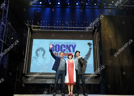 Stock Picture of (l-r) Us Actor Sylvester Stallone Dutch Actress and Singer Wietske Van Tongeren (as Adrian) and Us Actor Drew Sarich (as Rocky) Pose on Stage After the Press Conference For the 'Rocky' Musical at Tui Operettenhaus in Hamburg Germany 16 November 2012 the Musical Celebrates Its Opening Night and World Premiere on 18 November Germany Hamburg