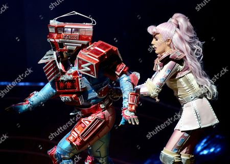 A Picture Made Available on 02 June 2013 Shows Cast Members Mykal Rand As Electra the Electric Engine (l) and Georgina Hagen (r) As Pearl the Observation Car Performing in the Musical 'Starlight Express' in Bochum Germany 28 May 2013 Andrew Lloyd Webber's 'Starlight Express' Has Been Staged in Bochum Since 25 Years Germany Bochum