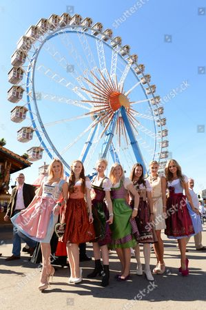 Dancer Isabel Edvardsson (l-r) Model Barbara Meier Presentor and Actress Andrea Sokol Actress and Author Michaela Merten Presentor and Entrepreneur Dana Schweiger and Models Lena Gercke and Rosanna Davison Pose During the Launch of a Watch by Ebel Onde and Ebel X-1 the 'Wiesn Time with Ebel and Cosmopolitain ' in Munich Germany 25 September 2012 the 179th Oktoberfest Takes Place From 22 September to 07 October Germany Munich