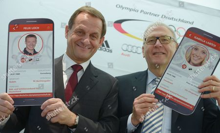 Alfons Hoermann President of the German Olympic Sports Confederation (dosb) and General Manager Michael Vesper Advertise For an App of the German Team During the Press Conference in Frankfurt/main Germany 23 January 2014 the Dosb Has Nominated 151 Athletes For the Winter Olympics in Sochi Germany Frankfurt/main