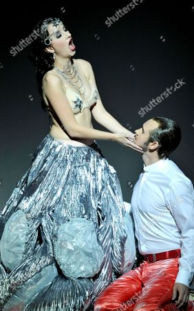Soprano Anna Prohaska (l) As Inanna and Tenor Jussi Myllys As Tammu Perform in a Scene During a Press Rehearsal of the Opera 'Babylon' at the Bavarian State Opera in Munich Germany 22 October 2012 the Opera Premieres on 27 October Germany Munich