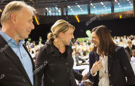 State Parliament Member of the Greens Simone Peter (c) Top Candidate Juergen Trittin and the New Chairwoman of the Greens Parliamentary Group Katrin Goering-eckardt Arrive at the Party Conference of Alliance 90/the Greens in the Velodrom in Berlin Germany 18 October 2013 Around 800 Delegates Gathered to Discuss Their Weak Results of the German General Election in September and to Elect a New Party Leadership Germany Berlin