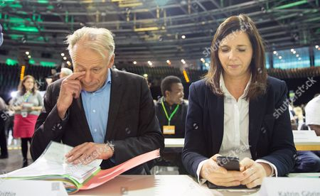 Top Candidate of the Greens Juergen Trittin and the New Chairwoman of the Greens Parliamentary Group Katrin Goering-eckardt Attend the Party Conference of Alliance 90/the Greens in the Velodrom in Berlin Germany 18 October 2013 Around 800 Delegates Gathered to Discuss Their Weak Results of the German General Election in September and to Elect a New Party Leadership Germany Berlin