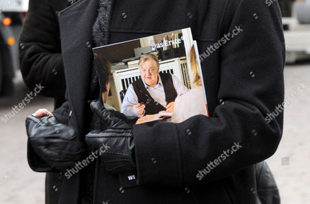 Musician and Composer Helmut Zerlett Attends the Funeral of Geman Actor and Director Dieter Pfaff with a Photo of the Deceased Under His Arm at Saint Michaelis Cathedral in Hamburg Germany 05 April 2013 Pfaff who was Best-known For His Role As Police Officer Hans Sperling Died on 05 March 2013 Aged 65 Germany Hamburg