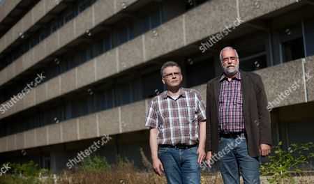 Christian Meier (l) Chairman of Village Association Wimbern E V and Edmund Schmidt Municipal Administrator of Wickede-wimbern Stand in Front of the Former Local Hospital Which is Being Prepared As a Potential Emergency Accomodation For Asylum Seekers in Wickede Germany 21 August 2013 the Facility Will Be Able to House Up to 500 Asylum Seekers Germany Wickede