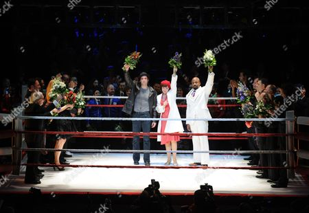 (l-r) Us Actor Drew Sarich (rocky) Dutch Actress Wietske Van Tongeren (adrian) and Us Actor Terence Archie (apollo) on Stage After the Premiere of the Musical 'Rocky' at the Tui Opera House in Hamburg Germany 18 November 2012 Germany Hamburg