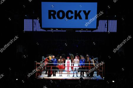 Stock Image of Us Actor Drew Sarich (4-r) Us Actor Terence Archie (3-r) and Dutch Actress Wietske Van Tongeren (as Adrian C) on Stage After the Premiere of the Musical 'Rocky' at the Tui Opera House in Hamburg Germany 18 November 2012 Germany Hamburg