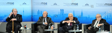 A Panel Consisting of (left to Right)former Chancellor of West Germany Helmut Schmidt Former French President Valerie Giscard D'estaing Former Us-secretary of State Henry Kissinger and Former German Federal Minister Egon Bahr Participate in a Discussion Round at the 50th Security Conference in Munich Germany 01 February 2014 Around 20 Heads of State and at Least 50 Foreign and Defence Ministers Are Expected to Attend the Conference Which Runs Until 02 February Germany Munich