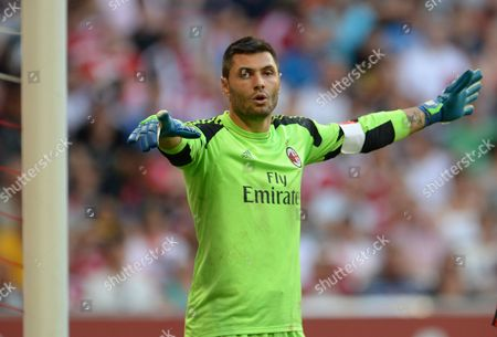 Goalkeeper Marco Amelia of Ac Milan Gestures During the Audi Cup Soccer Third Place Match Ac Milan Vs Fc Sao Paulo at Allianz Arena in Munich Germany 01 August 2013 Germany Munich