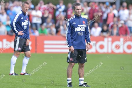 Fc Nuremberg's Head Coach Michael Wiesinger (r) and Former Player and New Assistant Coach Marek Mintal Take Part in the Start of This Season's Training at Sports Park Valznerweiher in Nurember Germany 23 June 2013 Germany Nuremberg