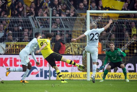 Dortmund's Robert Lewandowski Shoots at the Goal of Ron-robert Zieler with Didier Ya Konan on the Left and Sofian Chahed on the Right During the German Bundesliga Soccer Match Between Borussia Dortmund and Hanover 96 at the Signal Iduna Park in Dortmund Germany 02 March 2013 (attention: Embargo Conditions! the Dfl Permits the Further Utilisation of Up to 15 Pictures Only (no Sequntial Pictures Or Video-similar Series of Pictures Allowed) Via the Internet and Online Media During the Match (including Halftime) Taken From Inside the Stadium And/or Prior to the Start of the Match the Dfl Permits the Unrestricted Transmission of Digitised Recordings During the Match Exclusively For Internal Editorial Processing Only (e G Via Picture Picture Databases) Germany Dortmund