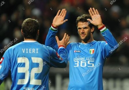 Italy's Goal Scorer Christian Vieri (l) Celebrates His 1-0 Goal with Team-mate Luca Facchetti During the International Match Between Italy and Germany at the Commerzbank-arena in Frankfurt Main Germany 14 October 2012 (attention: the Organiser Prohibits the Utilisation and Publication of Sequential Pictures on the Internet and Other Online Media During the Match (including Half-time) Attention: Blocking Period! the Organisers Permits the Further Utilisation and Publication of the Pictures For Mobile Services (especially Mms) and For Dvb-h and Dmb Only After the End of the Match ) Germany Frankfurt/main