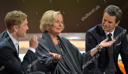A Photo Made Available 06 October 2013 Shows (l-r) Actors Matthias Schweighoefer and Ruth Maria Kubitschek and the Show's Host Markus Lanz Sitting on the Guests' Couch During the German Television Show 'Wetten Dass ?' ('bet That ') in Bremen Germany 05 October 2013 Evening Germany Bremen